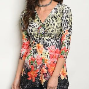 Tropical Floral Pullover Blouse
